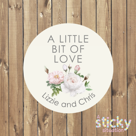 Personalised 'A Little Bit of Love' Floral Wedding Favour Stickers